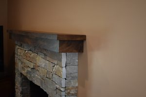 Rock Fireplace and mantle